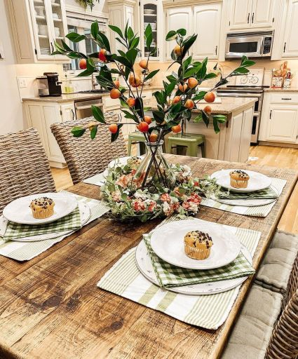 Peach décor for kitchen table