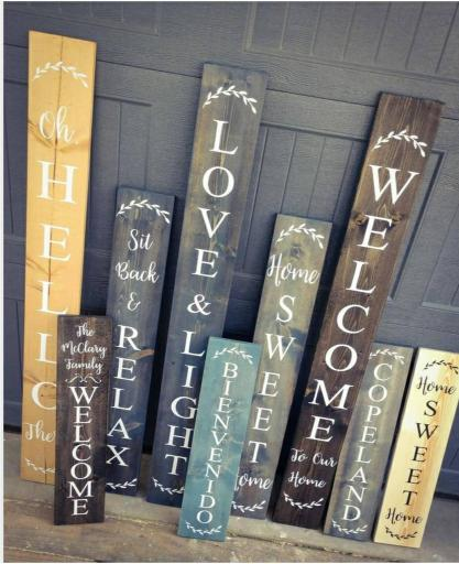 Farmhouse front porch welcome signs