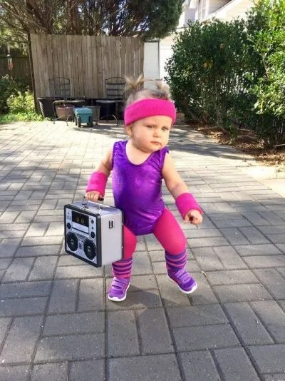 ADORABLE! 80s Workout Halloween costume for toddler girl!