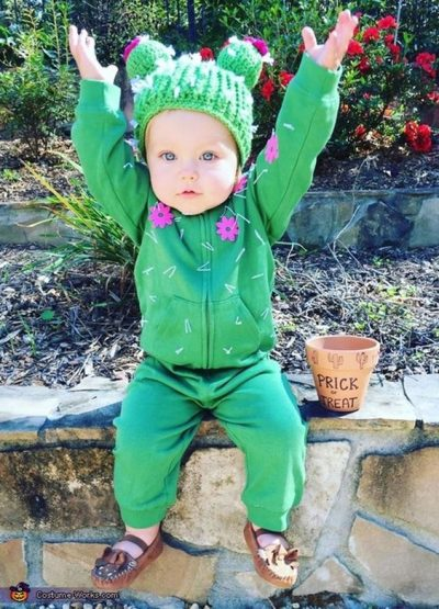Prick or Treat! This is a super cute cactus Halloween costume for toddlers.