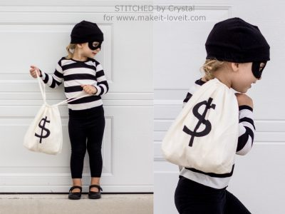 AWW! This is SUPER CUTE! | DIY Bandit Halloween Costume Idea for Toddler Girls