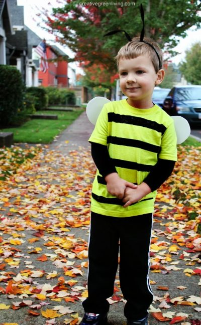 She made this costume from stuff brought from the dollar store! | DIY Bumblebee Halloween Costume Idea for Toddlers