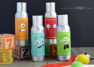 Keep nightmares at bay with a spritz of monster spray. Swap out the labels on your air fresheners for some adorable monster-themed ones. | Toddler Parenting Hacks