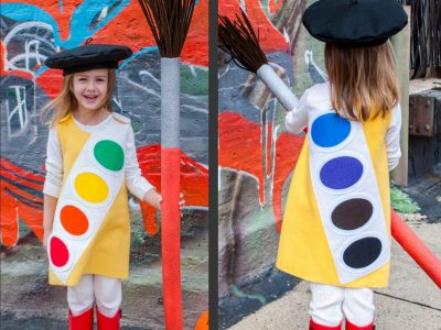 How cool is this costume! | DIY Watercolor Paint Tray Halloween Costume Idea for Girls