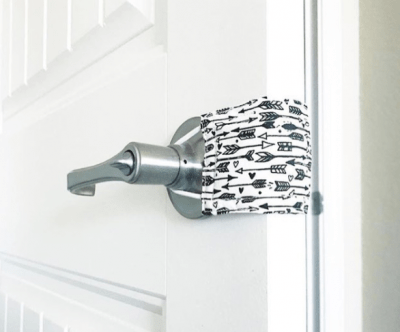 Slip a piece of fabric over the doorknobs to block the door from latching. This will stop angry toddlers from locking themselves in their rooms.   Toddler Parenting Hacks