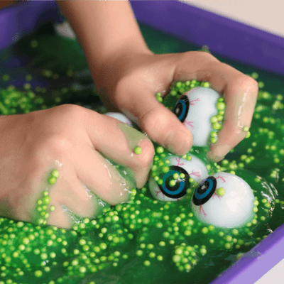 My kiddos LOVE this sensory bin for Halloween!