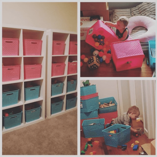 Sort and organize toys in bins. Love this idea! | 9 Ways to Organize Toddler Bedroom on a Budget