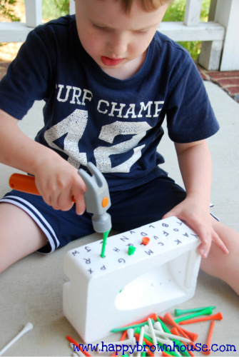 Write letters on a piece of styrofoam then... | 10 Indoor Toddler Activities