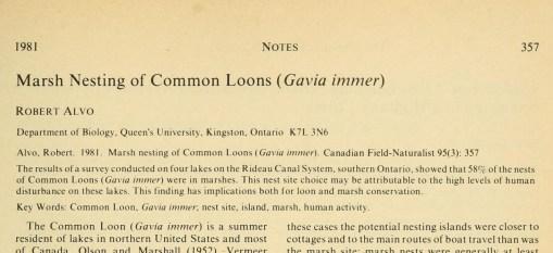 Alvo, R. 1981. Canadian Field-Naturalist 95: 357