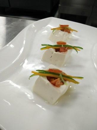 Gazpacho served in Tofu Cups