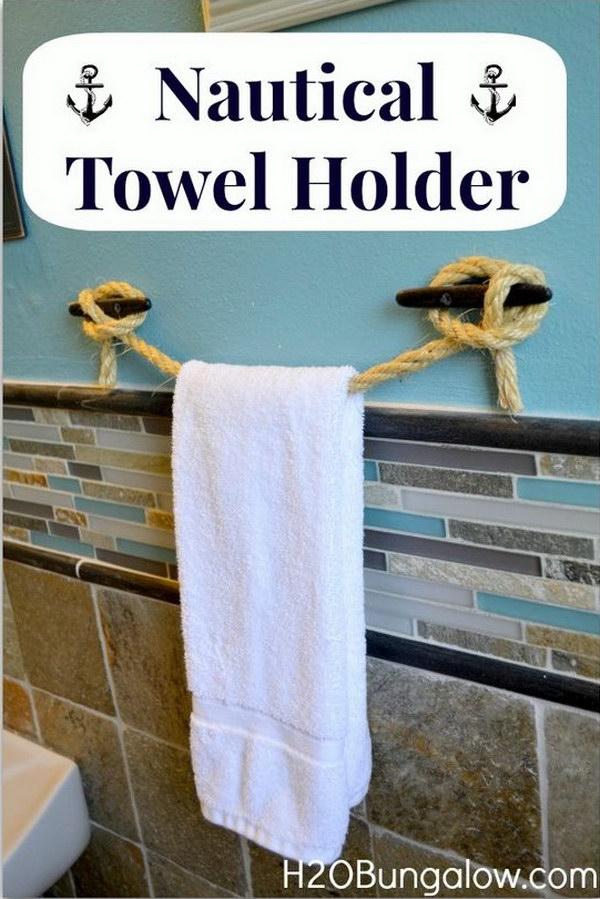 DIY Ideas   Tutorials for Nautical Home Decoration DIY Nautical Rope Towel Holder