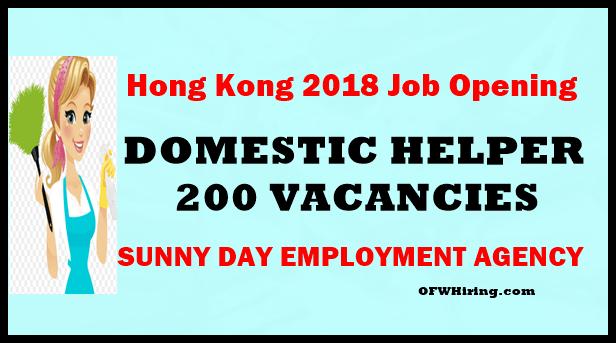 2018 Hong Kong Job Hiring Domestic Helper Ofw Hiring