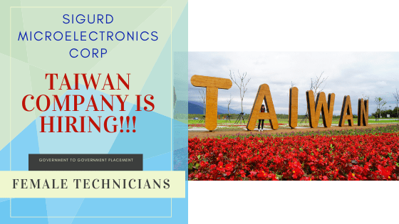Taiwan Company Hiring Female Technicians This 2020 – Sigurd Microelectronics Corp