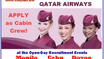 qatar airways job hiring female cabin crews cebu manila davao - Apply For Stewardess Job