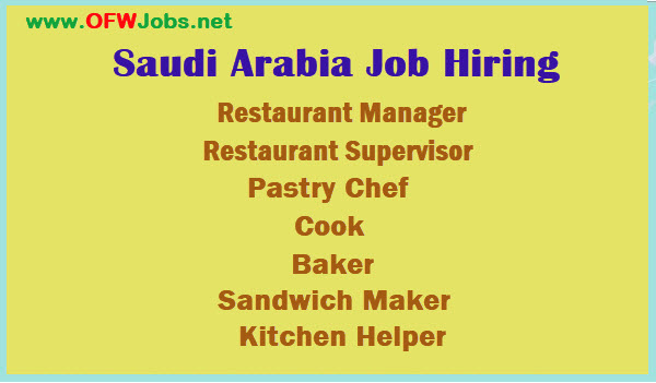 Saudi Arabia Job Opening Restaurant Manager Supervisor