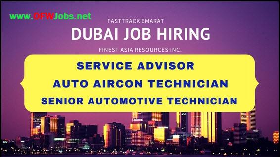 dubai job opening auto aircon technician service advisor - Auto Service Advisor Jobs