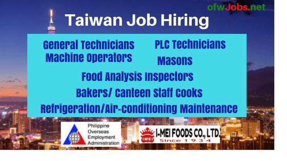 Taiwan Job Hiring I-Mee Foods: Machine Operators & More
