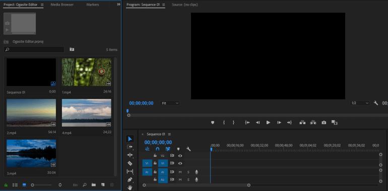 Hasil Import Video di Adobe Premiere Pro