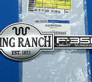 """F-350 KING RANCH"" BRAND NEW OEM EMBLEM TAILGATE F350 2009-2012 3C3Z-9942528-GA"