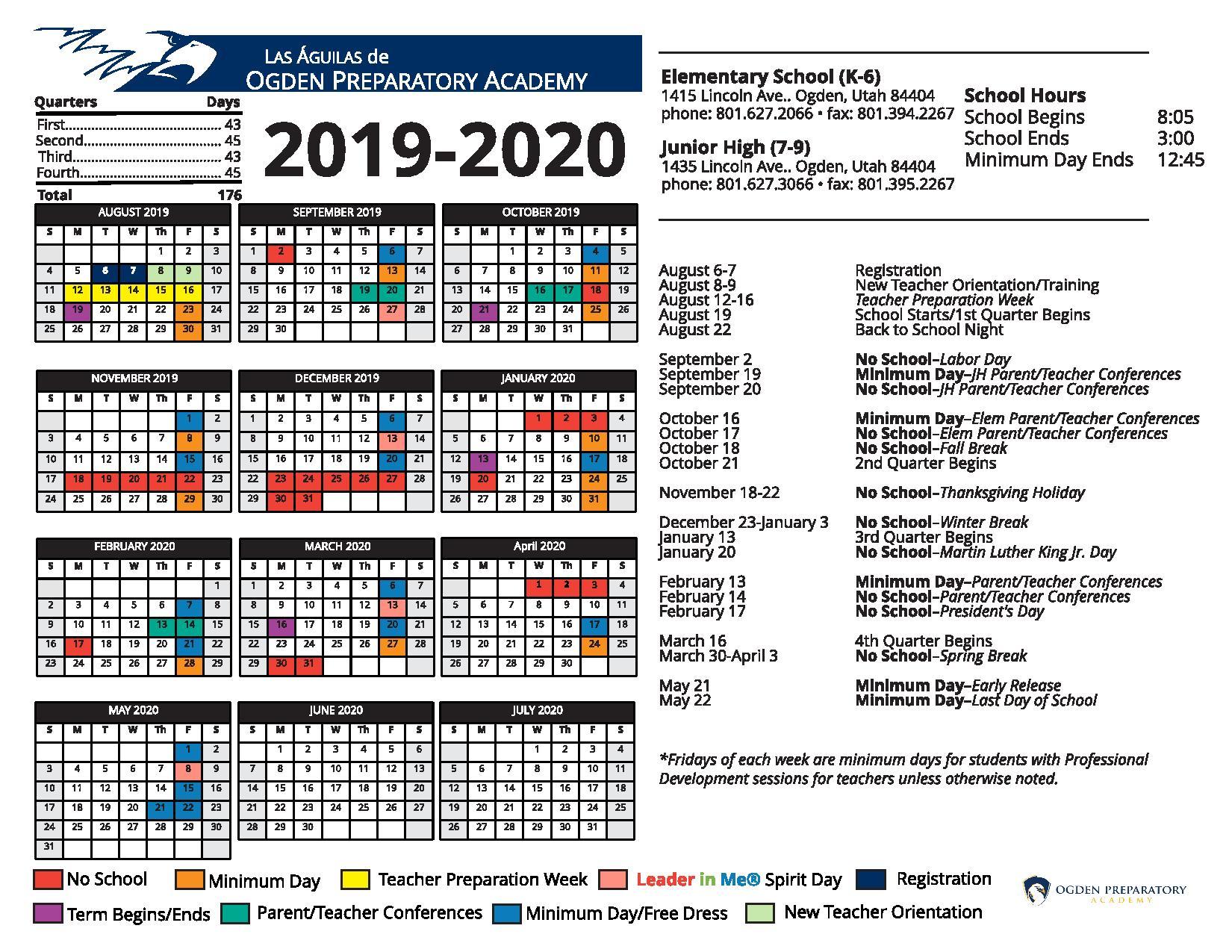 Calendario 2020trackidsp 006.2019 2020 Opa School Calendar Updated Ogden Preparatory