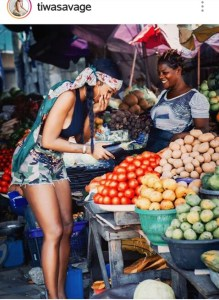 TIWA SAVAGE HAVING FUN AT LAGOS MARKET!