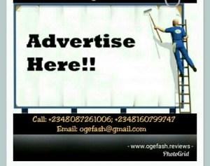 ADVERTIZE HERE AT OGEFASH PHOTO BLOG FOR JUST…