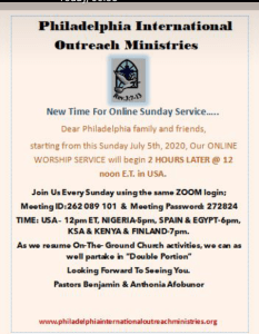 NEW TIMING FOR PHILADELPHIA INTERNATIONAL OUTREACH MINISTRIES (PIOM). DON'T MISS THIS ONLINE WORSHIP BECAUSE…