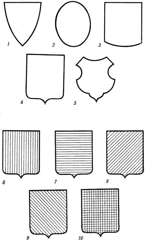 формы гербовых щитов картинки четырьмя