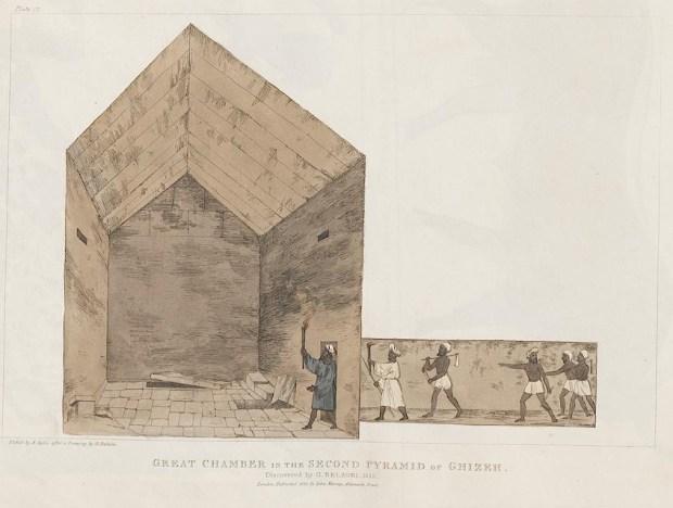 Il disegno della camera maggiore della seconda piramide di Giza realizzato da Agostino Aglio per il volume che raccoglie i diari di Belzoni pubblicati nel 1821