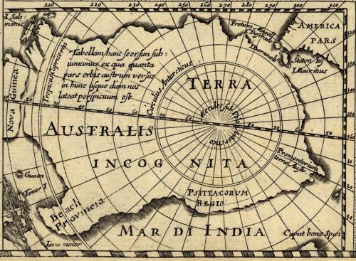 TERRA AUSTRALIS INCOGNITA, Hondius, 1618, pars tabulam AMERICA noviter delineata, auct. Jodoco Hondio, 1618; H. Picard fecit [1640].