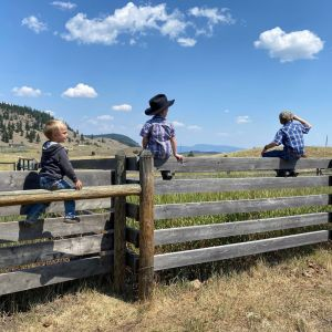 Ranch Kids Sitting on the Fence