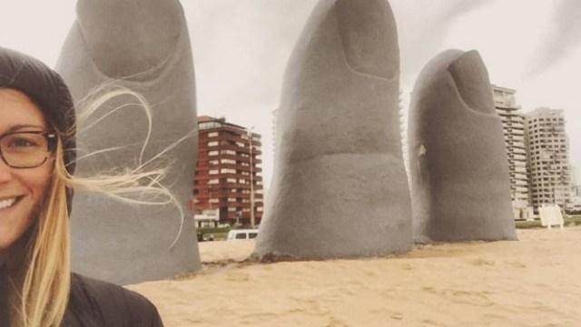 A jovem americana visitou um dos mais conhecidos pontos turísticos do Uruguai Foto: DIVULGAÇÃO