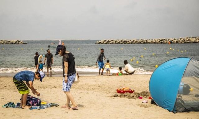Cenas da praia de Haragamaobama, reaberta em julho, sete anos e quatro meses depois do acidente nuclear em Fukushima Foto: Bárbara Lopes / Agência O Globo