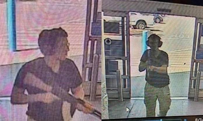 Câmera interna mostra homem identificado como Patrick Crusius, de 21 anos, entrando em supermercado em El Paso, no Texas: 18 pessoas foram mortas em ataque Foto: COURTESY OF KTSM 9 / AFP