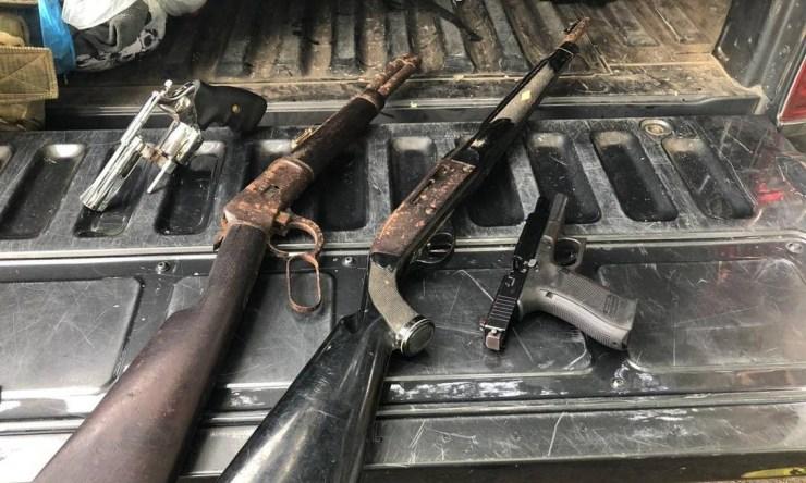 Armas apreendidas com Adriano Nóbrega neste domingo Foto: Secretaria de Segurança Pública da Bahia / Divulgação