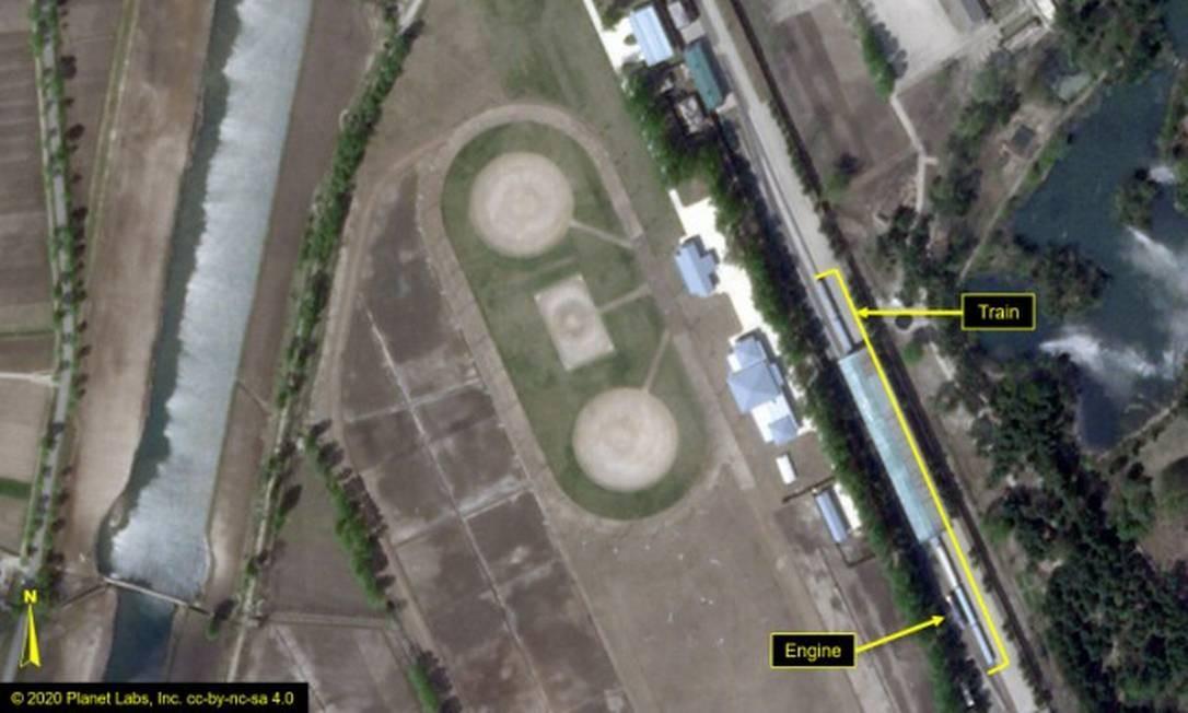 Imagens de satélite mostram vagão que possivelmente pertence a Kim Jong-un em balneário na costa da Coreia do Norte Foto: - / AFP