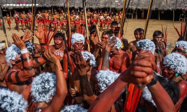 Encontro de lideranças Yanomami e Ye'kwana, onde os indígenas se manifestaram contra o garimpo em suas terras. Foto: Divulgação