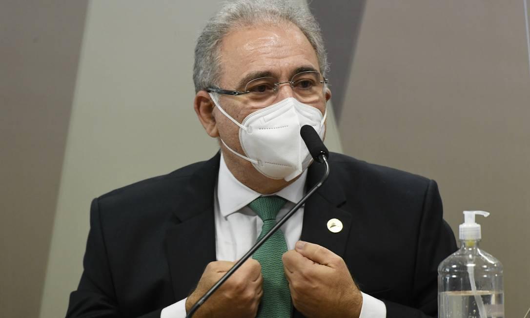 """""""Não há pressão nenhuma"""", disse Queiroga quando questionado sobre atuação do Planalto para incluir a cloroquina no tratamento de Covid-19. Foto: Jefferson Rudy / Agência O Globo - 06/05/2021"""