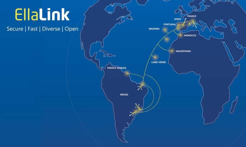 Mapa mostra conexão da rede de fibra óptica que liga o Brasil à Europa Foto: Divulgação