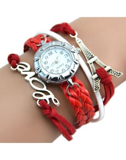 Червен евтин дамски часовник-гривна