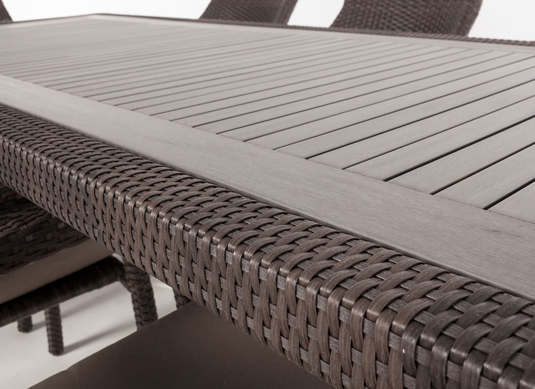 Ciro Rectangular Synthetic Wood Top Outdoor Dining Table For 8 To 10 People Ogni