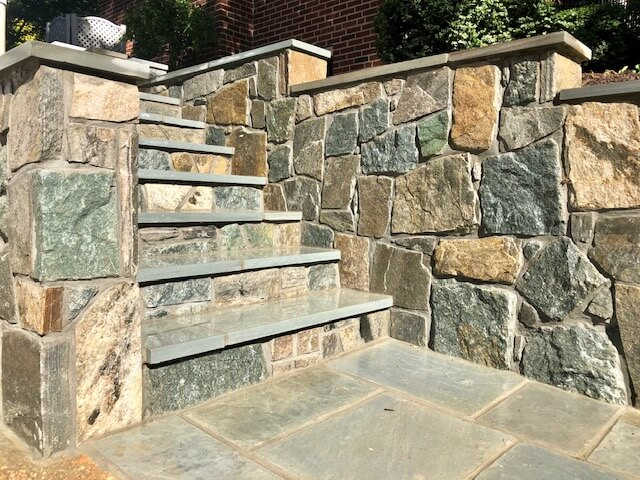flagstone patio retaining wall design