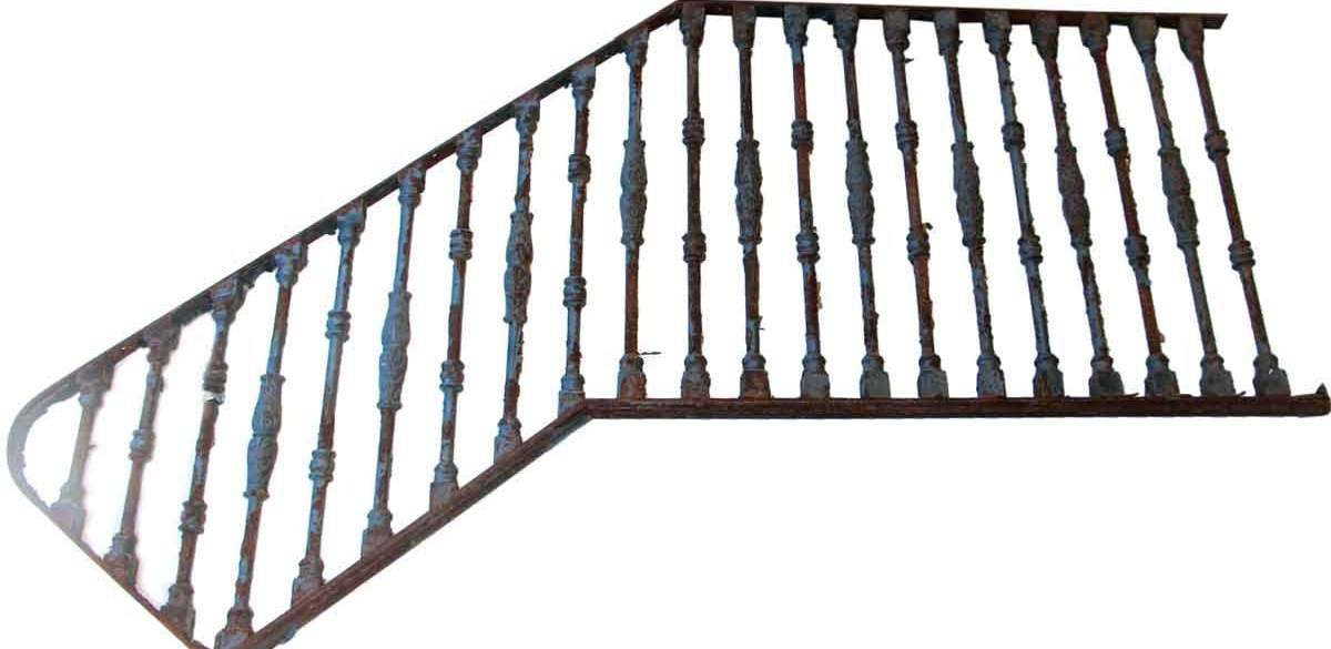 Antique Cast Iron Stair Railing Olde Good Things | Cast Iron Stair Railing | Residential | Horizontal | Chrome Picket Interior | Custom | Iron Baluster