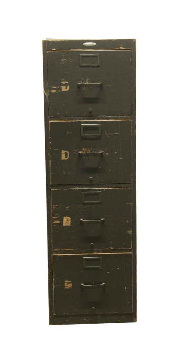 Vintage 4 Drawer Wooden Green File Cabinet Olde Good Things