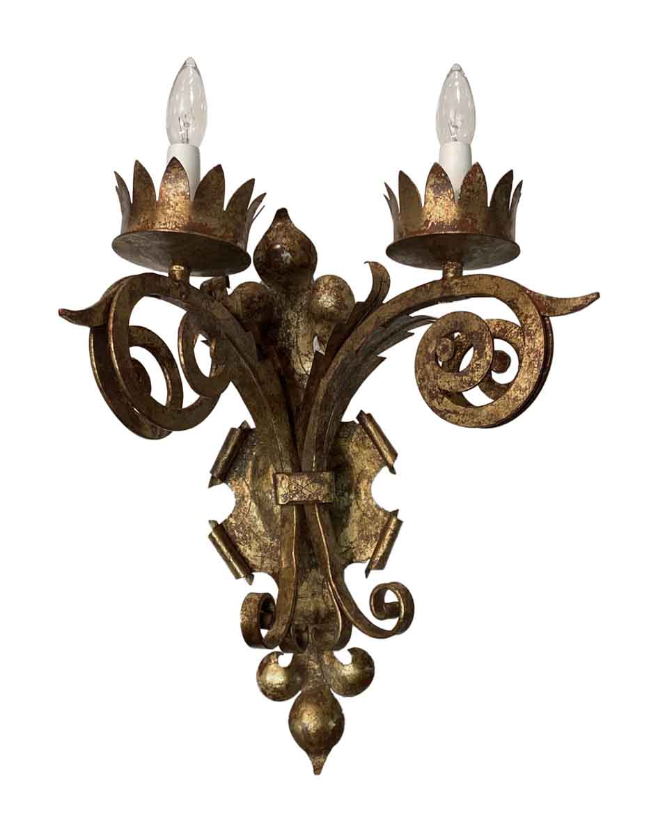Gothic Gold Gilt Over Wrought Iron Wall Sconce | Olde Good ... on Wrought Iron Sconces Wall Lighting id=34535