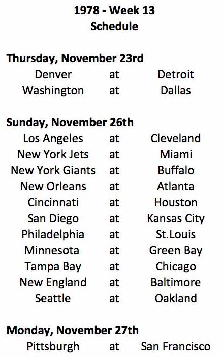 1978 NFL Week 13 Schedule