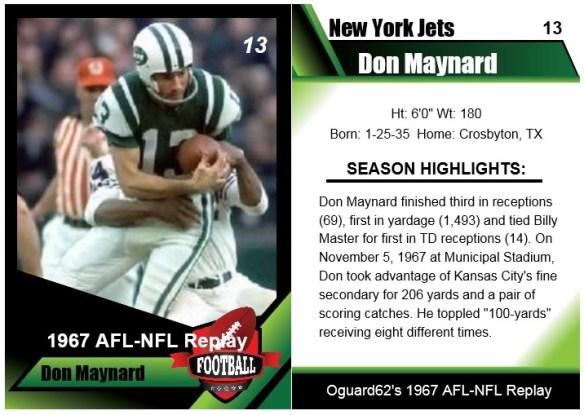 1967 Don Maynard Card