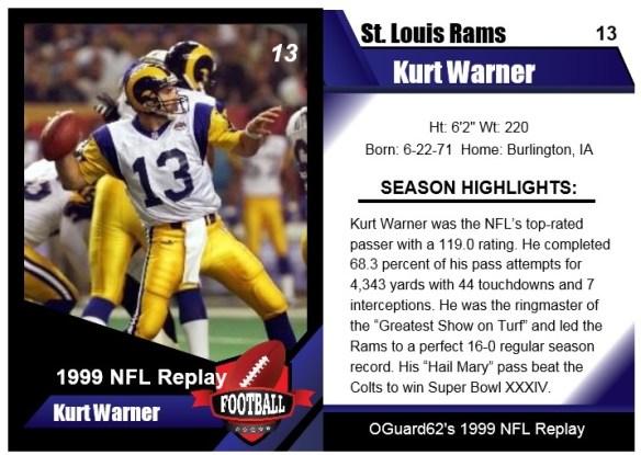 1999 Kurt Warner Card