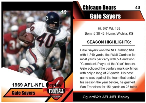 1969 gale sayers card