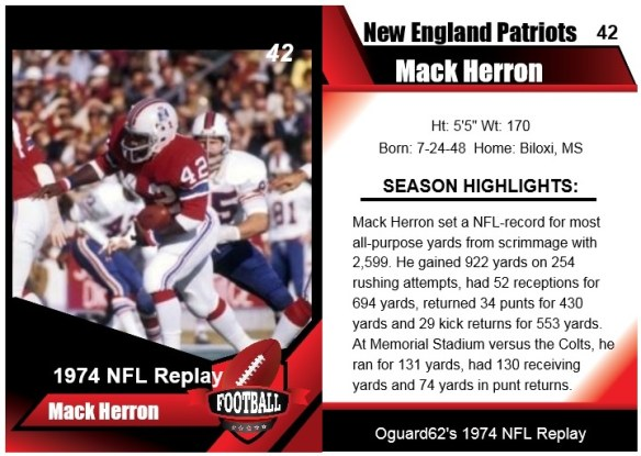 1974 - mack herron card